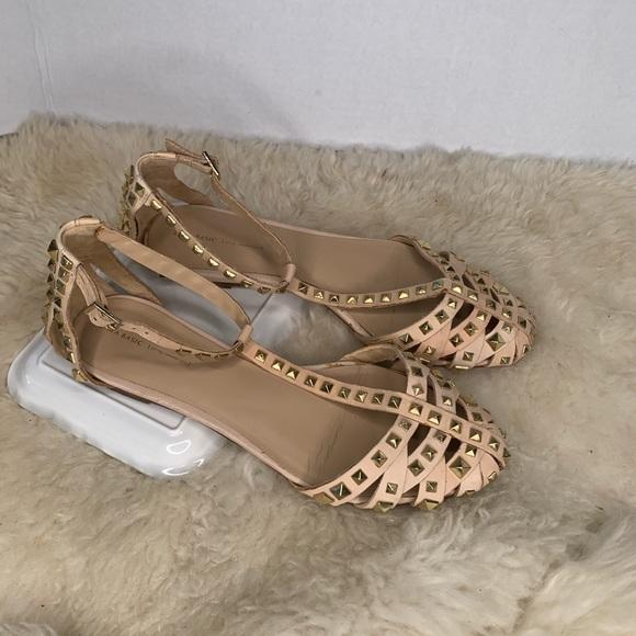 Zara Rock Stud Sandal Flats Tan w/ Gold Size 10